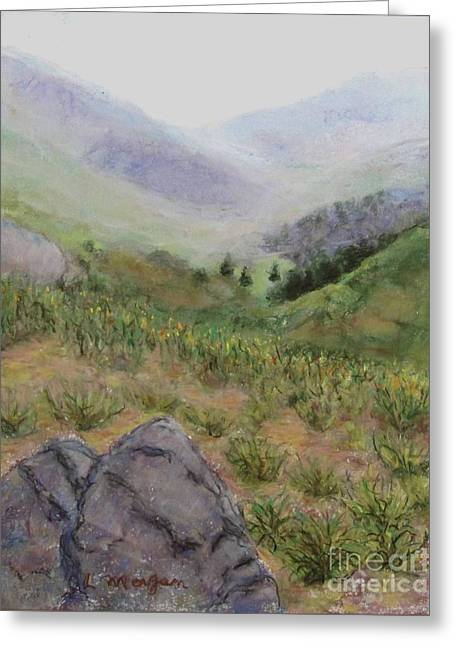 Mist In The Glen Greeting Card by Laurie Morgan