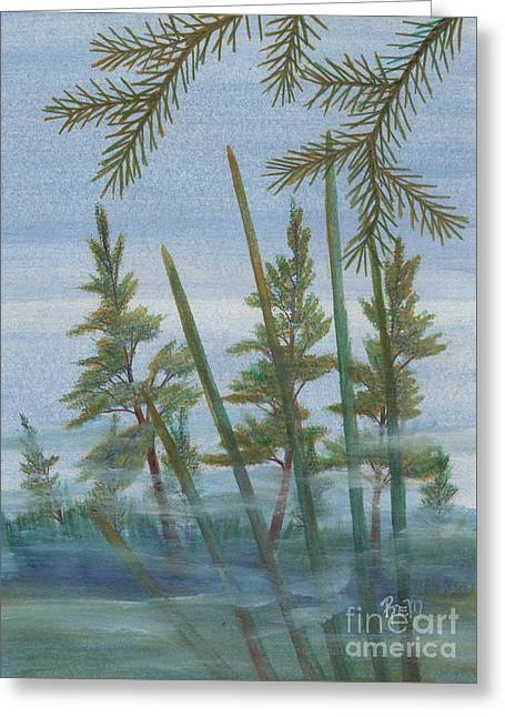 Mist In The Marsh Greeting Card by Robert Meszaros