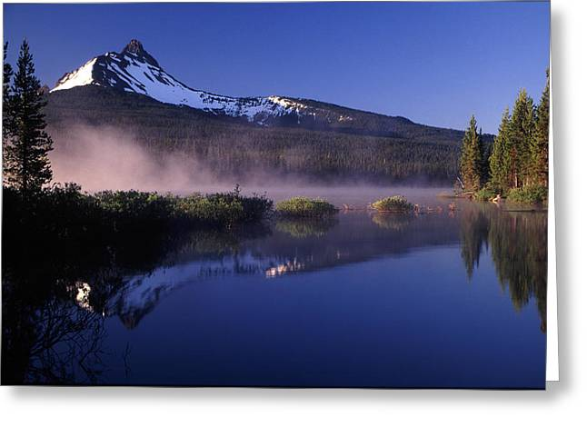 Mist Off Of Big Lake Greeting Card by Joe Klune
