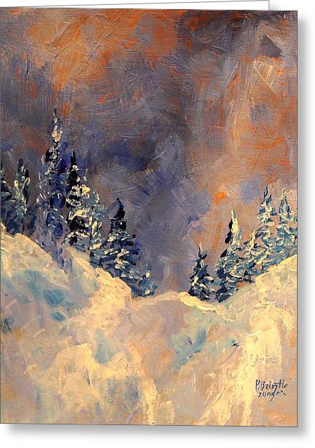 Mist On The Snow Peak Greeting Card by Patricia Brintle