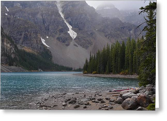 Mist Over Lake Moraine Greeting Card by Cheryl Miller