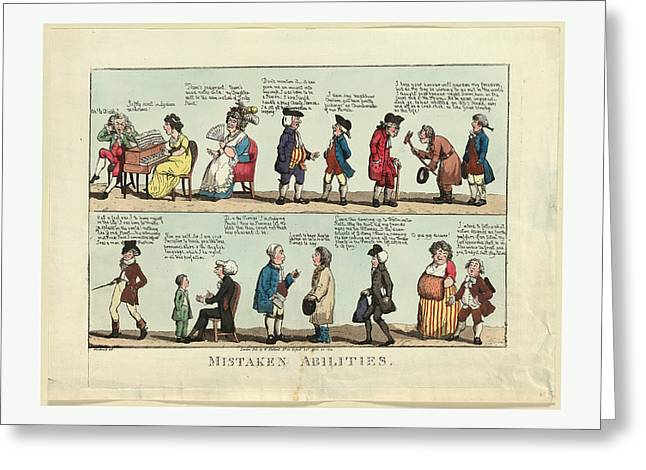 Mistaken Abilities, Engraving 1800, Several Individuals Greeting Card by Woodward, John Douglas (1846?1924), American, George Moutard