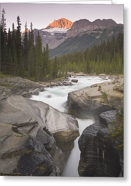 Mistaya Canyon And Mount Sarbach Greeting Card