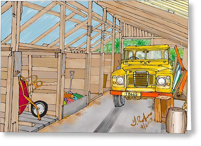 Mister Filby's Toolshed Greeting Card by Gerry Robins