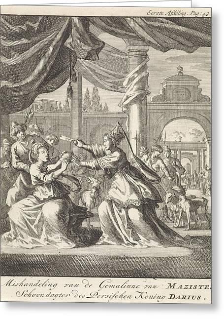 Mistreatment Of Women Of Masistes, Jan Luyken Greeting Card by Jan Luyken And Jan Claesz Ten Hoorn