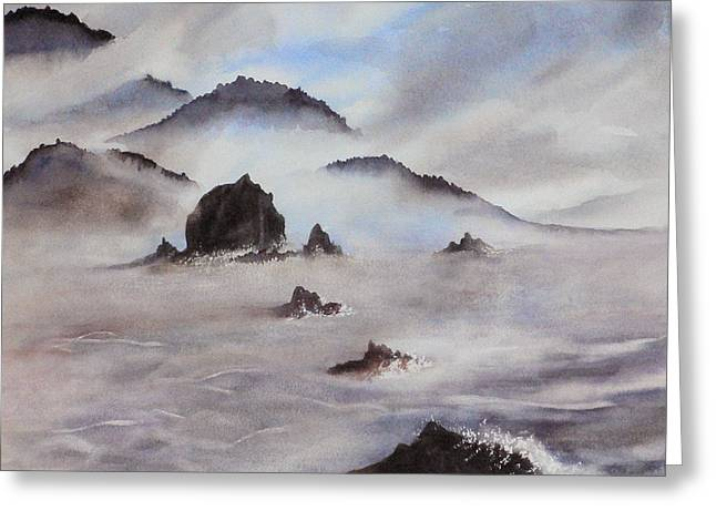Mists Of Haystack Rock Greeting Card