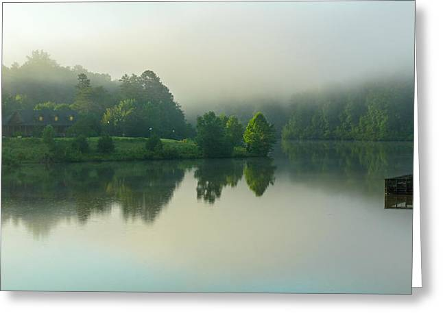 Misty Cabin Morning Greeting Card by Chilehead Photography