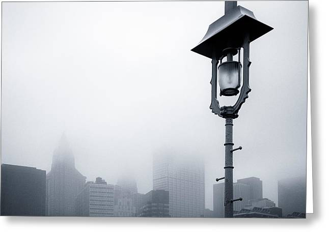 Misty City Greeting Card by Dave Bowman