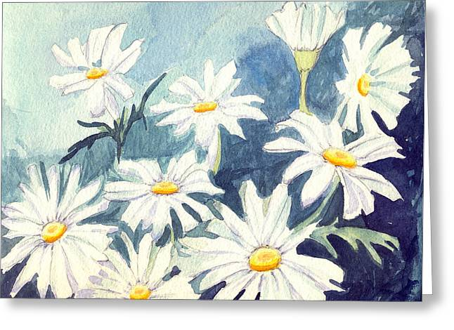 Misty Daisies Greeting Card by Katherine Miller