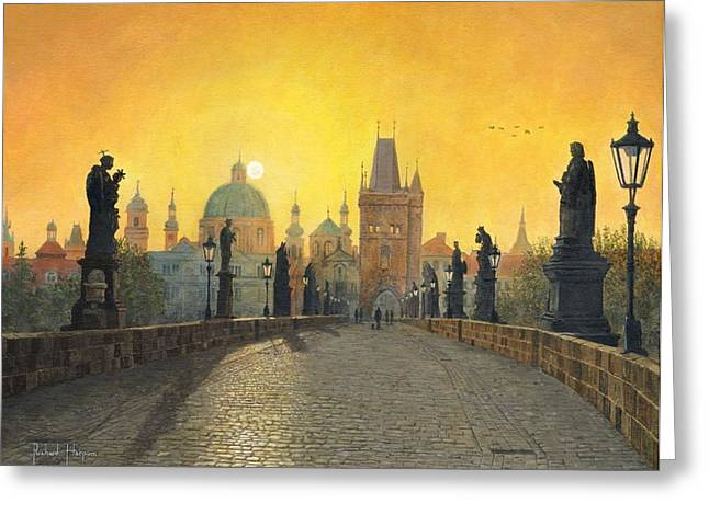 Misty Dawn Charles Bridge Prague Greeting Card by Richard Harpum