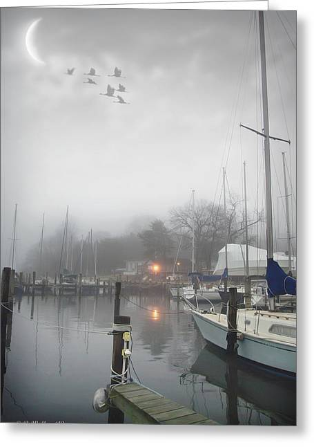 Misty Harbor Lights Greeting Card by Brian Wallace