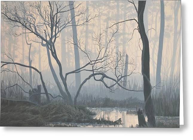 Misty Hideaway -  Wood Duck Greeting Card