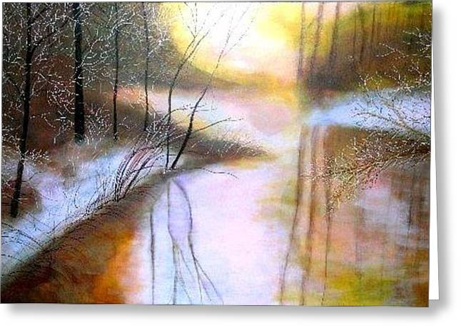 Misty Icy Golden Creek Greeting Card