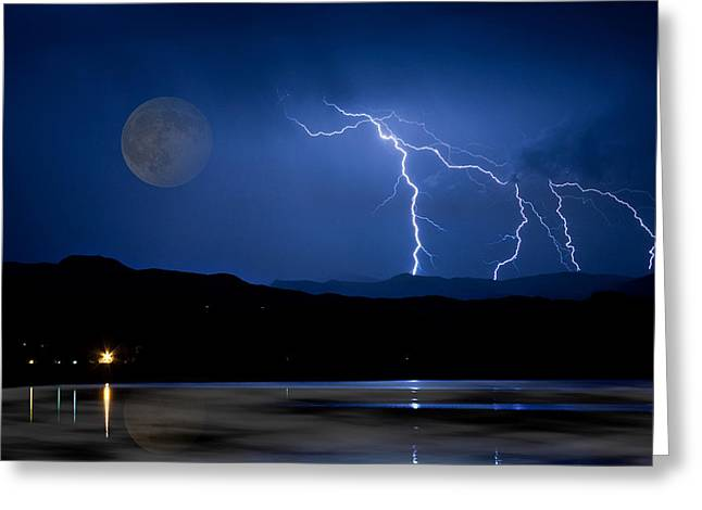 Misty Lake Full Moon Lightning Storm Fine Art Photo Greeting Card
