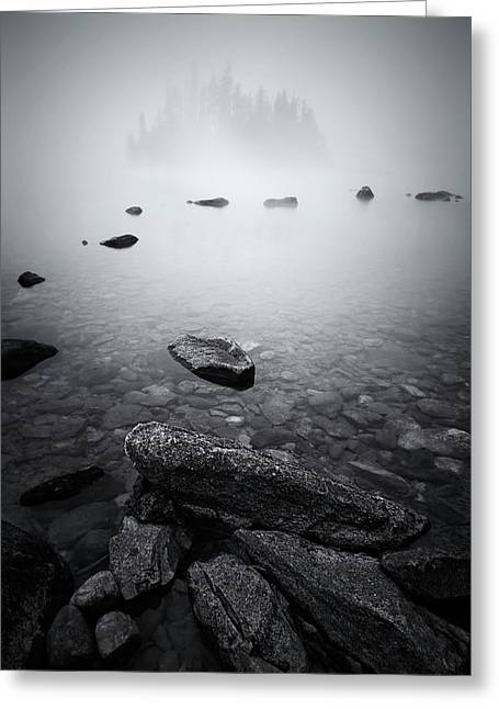 Misty Lake Greeting Card by Lydia Jacobs