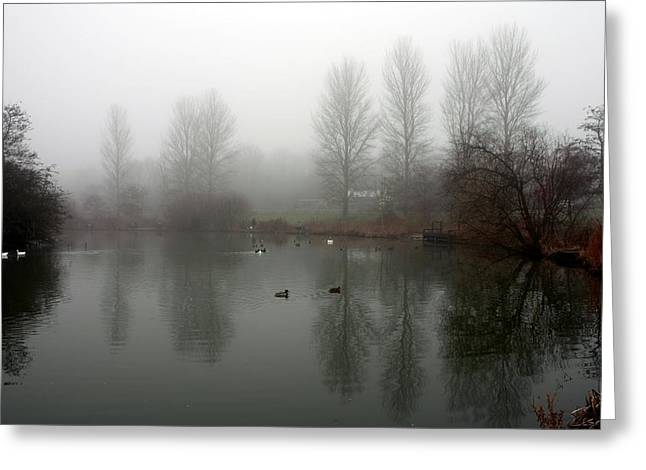 Misty Lake Reflections Greeting Card