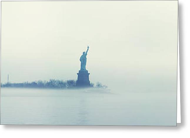 Misty Liberty Greeting Card by Nishanth Gopinathan
