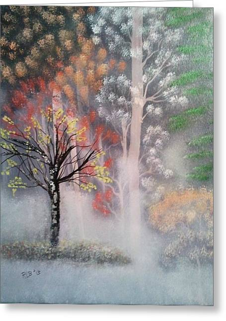 Misty Magic Forest Greeting Card by Lee Bowman