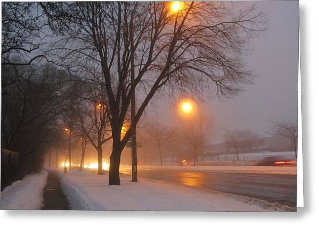 Misty Morning After Snow Fall Greeting Card by Alfred Ng