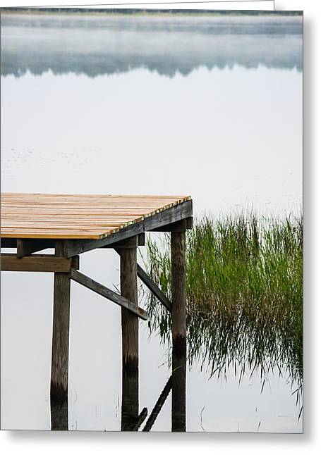 Misty Morning By The Dock Greeting Card