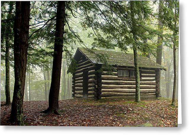 Misty Morning Cabin Greeting Card