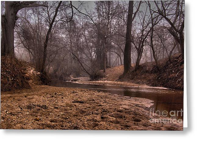 Greeting Card featuring the photograph Misty Morning Creek by Glenda Wright