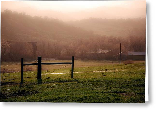 Misty Morning Greeting Card by Eric Rundle
