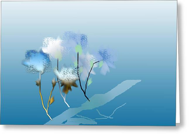 Greeting Card featuring the digital art Misty Morning Flowers by Asok Mukhopadhyay