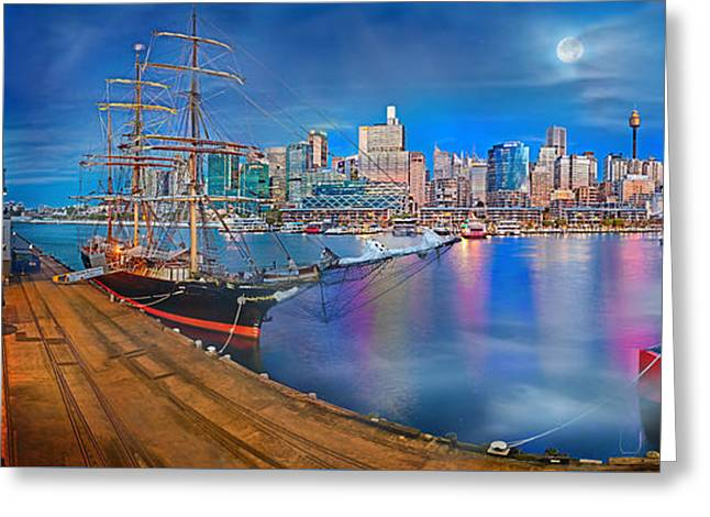 Misty Morning Harbour Greeting Card