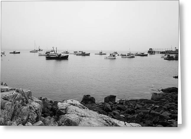 Misty Morning Harbour Views Greeting Card