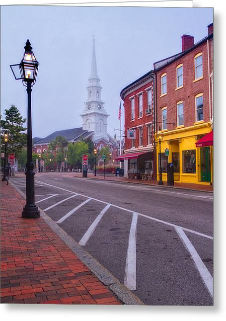 Misty Morning In Market Square Greeting Card by Jeff Sinon