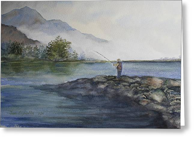 Greeting Card featuring the painting Misty Morning by Jan Cipolla