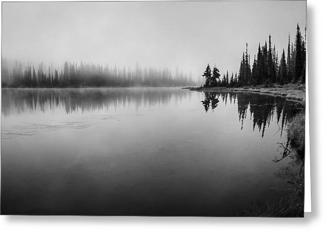 Misty Morning On Reflection Lake Greeting Card by Brian Xavier