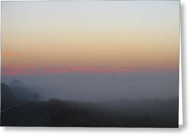 Misty Morning Road Greeting Card by Wendy J St Christopher
