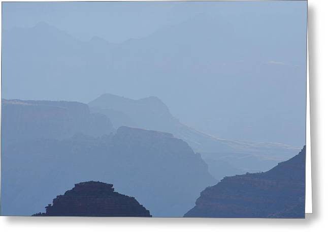 Misty Morning Silhouettes And Distant Desert View Watchtowerin Grand Canyon National Park Square Greeting Card by Shawn O'Brien