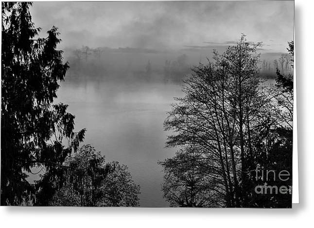 Misty Morning Sunrise Black And White Art Prints Greeting Card by Valerie Garner