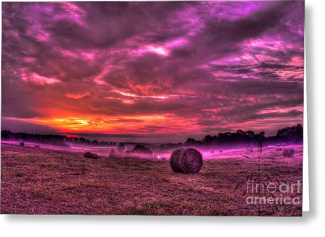Misty Morning Sunrise Greeting Card by Reid Callaway