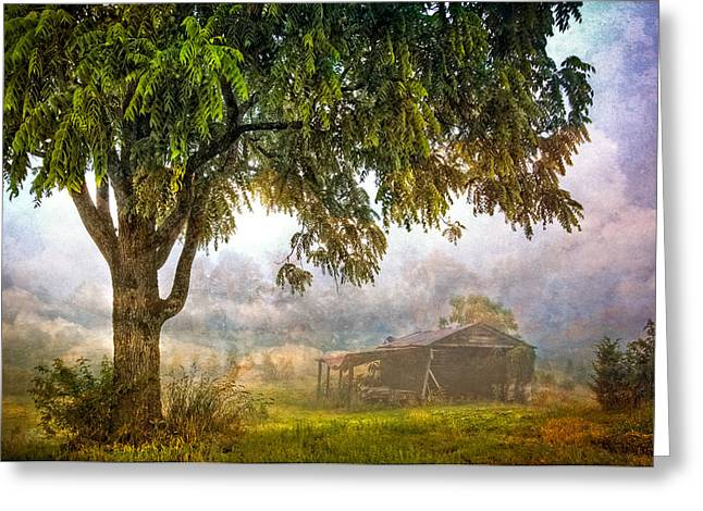 Misty Mountain Barn Greeting Card by Debra and Dave Vanderlaan