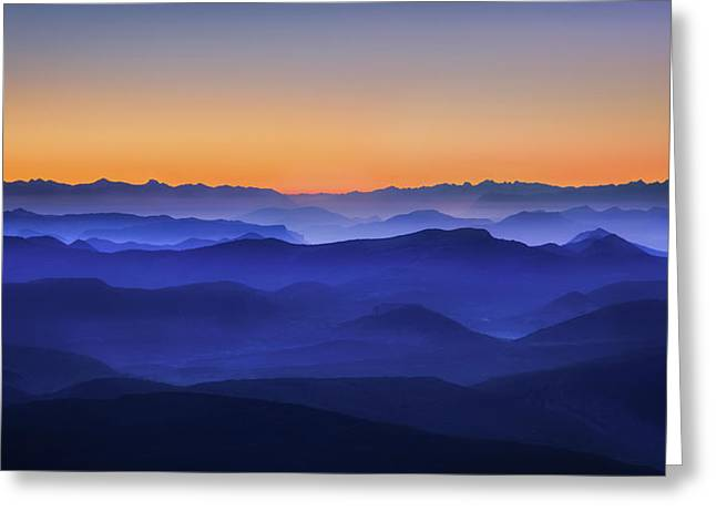 Misty Mountains Greeting Card by David Bouscarle