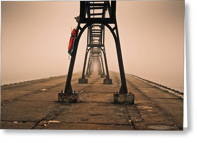 Misty Pier Greeting Card by Jason Naudi Photography