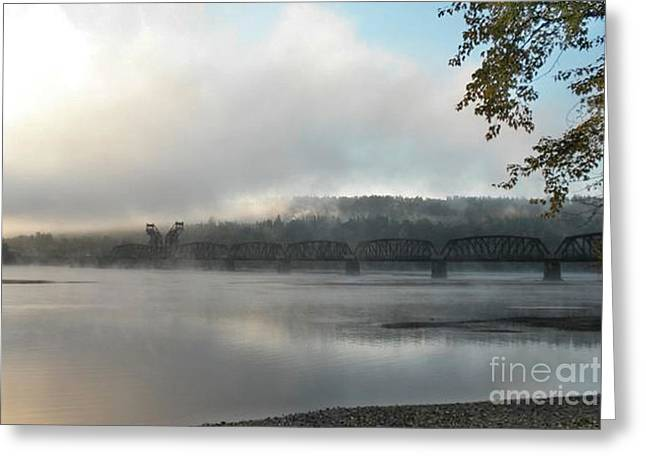 Misty Railway Bridge Greeting Card