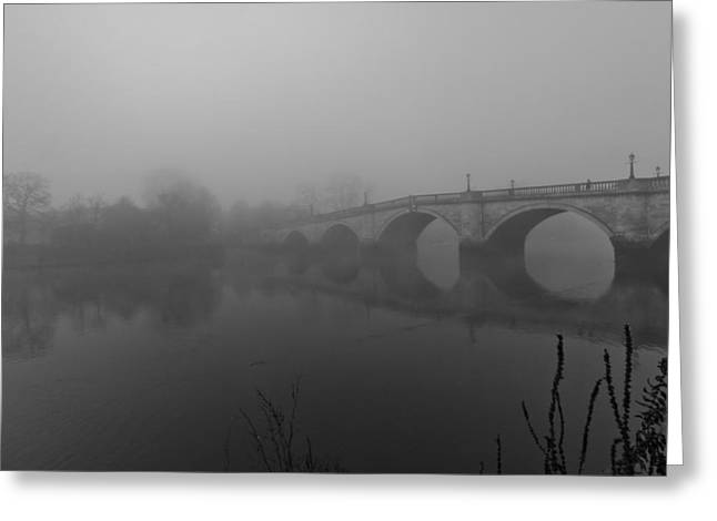 Misty Richmond Bridge Greeting Card by Maj Seda