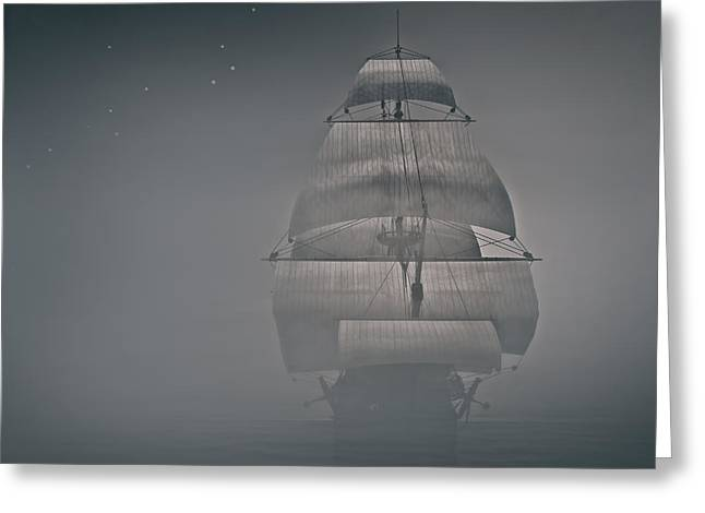 Misty Sail Greeting Card by Lourry Legarde