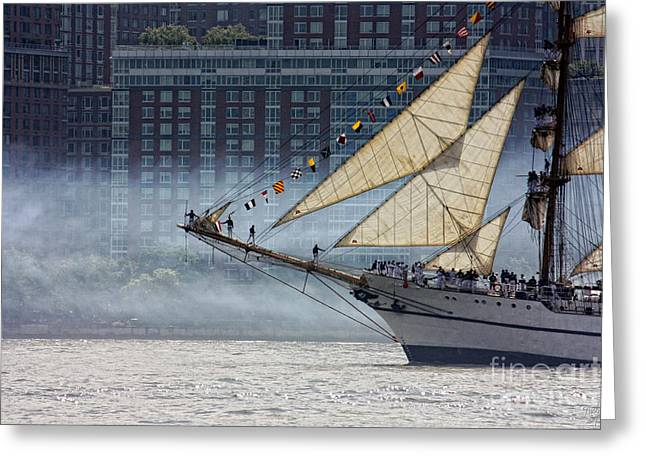 Misty Sails Greeting Card by Nishanth Gopinathan