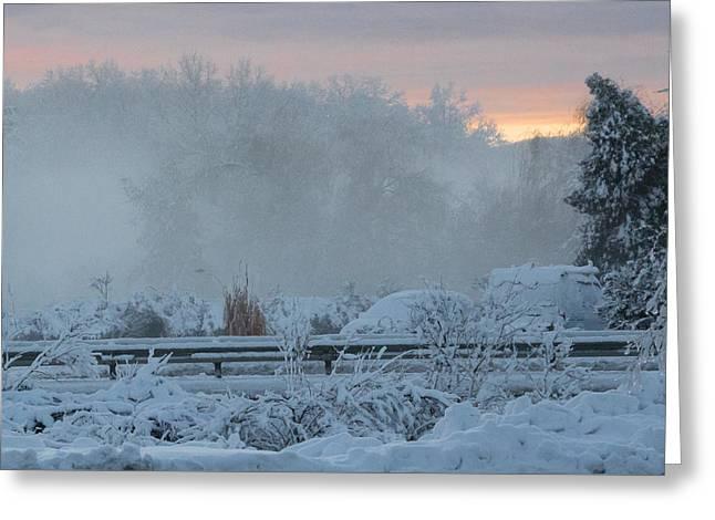 Misty Snow Morning Greeting Card