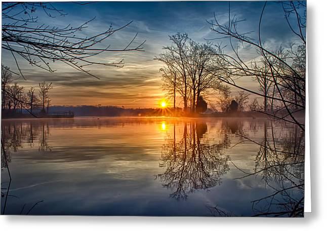 Misty Sunrise Greeting Card by Dan Holland