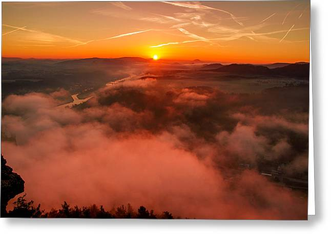 Misty Sunrise On The Lilienstein Greeting Card