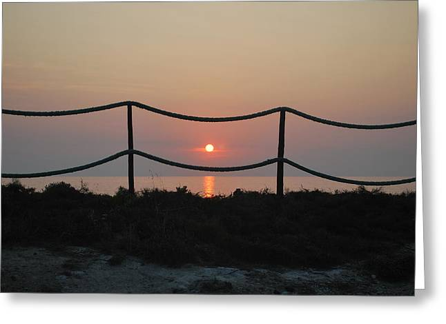 Misty Sunset 1 Greeting Card by George Katechis
