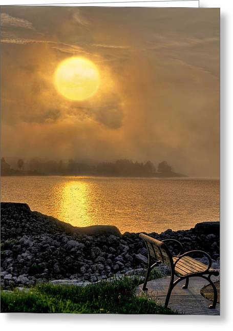 Misty Sunset At The Bay Greeting Card