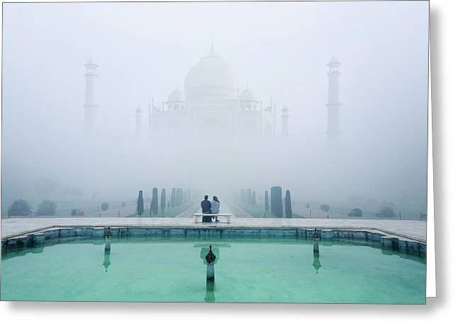 Misty Taj Mahal Greeting Card by Karthi Kn Raveendiran